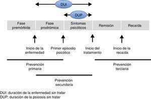 Fases del trastorno psicótico y niveles de prevención.