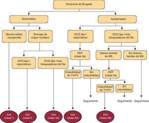 Resumen de las directrices a seguir para la implantación de desfibrilador automático implantable (DAI) en pacientes con diagnóstico de síndrome de Brugada. Tomada de Antzelevitch5.