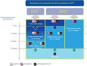 Algoritmo de tratamiento (adaptado de ESC 2017). ACO: anticoagulación oral. ICP: Intervencionismo coronario percutáneo. AAS y clopidogrel se deben administrar siempre periprocedimiento y al menos hasta el alta, independientemente de la estrategia de tratamiento.