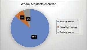 The sectors in which injured patients worked (%).