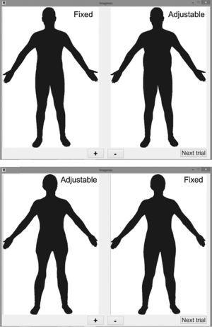 Example of a trial where the waist of a male silhouette has to be reduced and one trial where the thighs of a female silhouette have to be augmented.