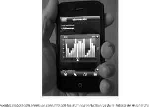"""Pantalla de acceso a la consulta interactiva del indicador """"práctica docente"""" desde un iPhone"""