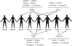 Porcentaje de participantes en función de su sexo, edad y nivel educativo que asignó confiablemente las distintas etiquetas de talla corporal a las siluetas masculinas. Debajo de cada silueta se muestra la etiqueta de talla que le correspondía conforme al IMC del hombre que representaba.