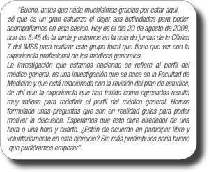 Ejemplo de declaración inicial de un grupo focal donde se especifican los contratos.