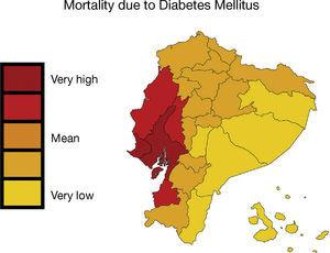 – In Ecuador, mortality caused by diabetes mellitus was higher in the provinces of Guayas, Los Ríos and Manabí, located on the Pacific coast. Map shows the mortality rate due to diabetes mellitus (deaths/100,000 individuals per year, INEC [Instituto Nacional de Estadísticas y Censos National Institute of Statistics and Census of Ecuador] 2011). This figure is part of a figure originally published by Neira-Mosquera et al.6, with minor modifications (authorised reproduction).
