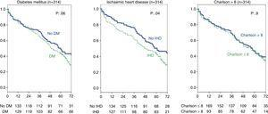 Influence of history of ischaemic heart disease, diabetes mellitus, and Charlson index on survival. Full group (314 patients).