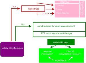 Overview of the possibilities of nanotechnology applied to kidney therapies. For details, see text.