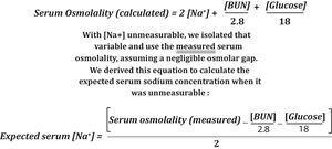 Serum osmolality calculator with algebraic modification.