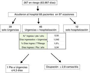 Frequency of visits to the emergency room and hospitalizations: number of patients and time of bed occupation.