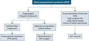 Distal hypoperfusion syndrome. AVF, arteriovenous fistula; IMN, ischaemic monomelic neuropathy; PTA, percutaneous transluminal angioplasty.