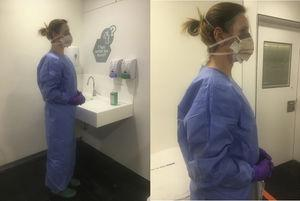Personal protective equipment (PPE), consisting of a pair of powder-free long-sleeved nitrile gloves, a long waterproof gown, a FFP2 mask, and a full-screen surgical mask. This list of individual protective equipment is under permanent review depending on the evolution and new information available on SARS-CoV-2 disease.
