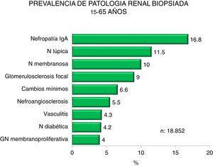 Prevalence of biopsied kidney diseases in patients 15-65 years.