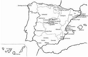Map of Spain with the location of universities where the degree in medicine is taught.