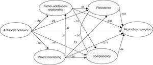 Path diagram summarizing the influential patterns of the model through which family/parental and social variables affect drinking behavior. The numbers correspond to standardized regression weights (p<.05).