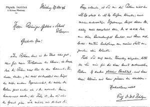 Carta enviada por W.C. Roentgen.