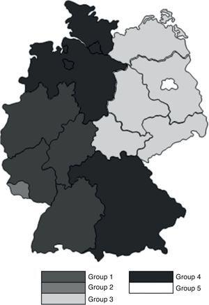Geographical distribution of the German states.