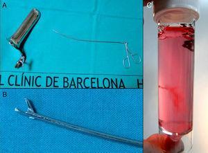 Instrumental necesario para la biopsia de vellosidades coriales transcervical.