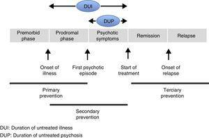 Phases of psychotic disorder and levels of prevention.