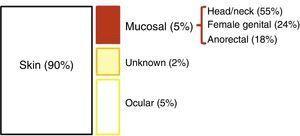 Topographical distribution of melanomas.