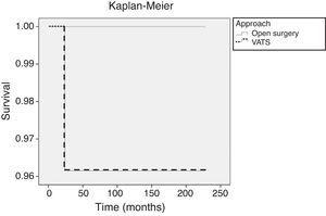 Kaplan–Meier curves showing overall survival in the two study groups. VATS: video-assisted thoracic surgery.