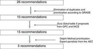 Flowchart showing the selection of recommendations.