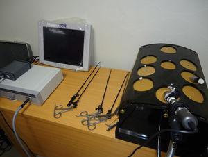 Laparoscopic endotrainer, optics, light source and laparoscopic instruments.