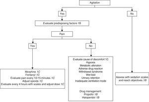 Algorithm for sedation and analgesia in patients without tracheal intubation.