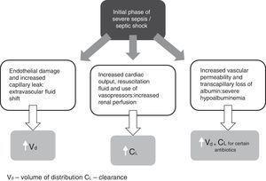 Initial pathophysiology of severe sepsis/septic shock and its impact on antibiotic pharmacokinetics.