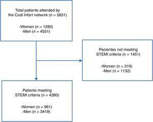 Study flow chart. STEMI: ST-segment elevation acute myocardial infarction.
