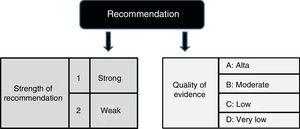 Strength and degree of recommendation according to the GRADE methodology.