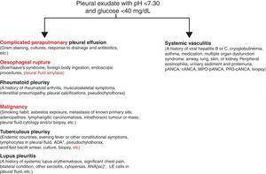 Study proposal of the patient with pleural fluid acidosis and low glucose concentration. Diagnostic priorities will always be the entities mentioned on the left. Vasculitic pleural effusion will always be a diagnosis of exclusion of the said diseases. ANA, antinuclear antibodies; ADA, adenosine deaminase.