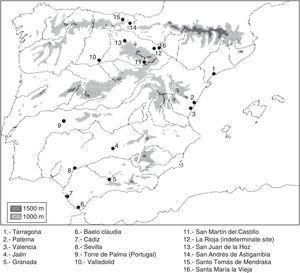 Cases in which there is paleopathological evidence of Paget's disease of bone in the Iberian Peninsula.
