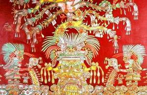 Tepantitla mural. Priests bearing psilocybin mushrooms around the god Tlaloc.