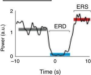 Characteristic ERD/ERS pattern in a healthy subject. ERD/ERS pattern in a healthy subject before a voluntary and self-initiated reaching movement of the right arm. Movement onset is at t=0. The patterns were obtained using the techniques described by Ibáñez et al.74