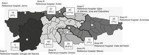 CS patients' place of residence by healthcare area. Source: Modified from Benavente et al.21