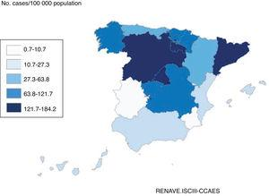 Cumulative incidence of COVID-19 in the previous 14 days in Spain, by autonomous community (data from 27 April 2020).