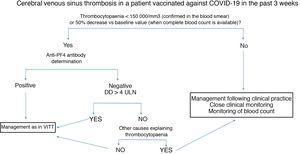 Diagnostic and therapeutic management of patients presenting cerebral venous sinus thrombosis after vaccination against COVID-19. We recommend freezing a baseline serum sample for a subsequent functional study, prior to administration of immunoglobulins. Anti-PF4: antibodies targeting platelet factor 4; DD: D-dimer; ULN: upper limit of normal; VITT: vaccine-induced immune thrombotic thrombocytopaenia.