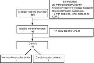 Flowchart of analysis of medical records at each stage of the study. COPD: chronic obstructive pulmonary disease&#59; CPET: cardiopulmonary exercise testing.