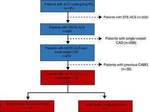 Study flowchart. ACS: acute coronary syndrome&#59; CAD: coronary disease&#59; NSTE-ACS: non-ST-segment elevation acute coronary syndrome&#59; PCI: percutaneous coronary intervention&#59; STE-ACS: ST-segment elevation acute coronary syndrome.