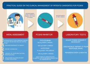 Clinical management of patients under PCSK9 inhibitors. a Can be adjusted to 150 mg.