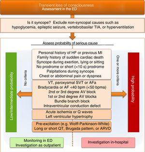 Differential diagnosis of loss of consciousness and syncope on admission to the emergency department, focusing on risk stratification for cardiogenic syncope. AF: atrial fibrillation; ARVD: arrhythmogenic right ventricular dysplasia; AV: atrioventricular; ED: emergency department; HF: heart failure; MI: myocardial infarction; SVT: supraventricular tachycardia; TIA: transient ischemic attack; VT: ventricular tachycardia. aonly to be considered if history suggests arrhythmic syncope.