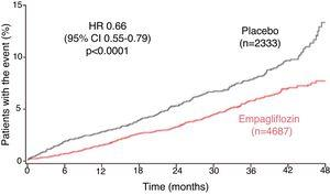 Time to first heart failure hospitalization or cardiovascular death in the EMPA-REG OUTCOME trial (adapted from Fitchett et al.42). CI: confidence interval; HR: hazard ratio.