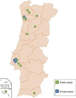 Geographical distribution of public and private electrophysiology centers in Portugal.