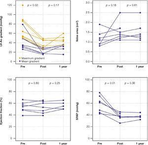 Maximum and mean left ventricular-aortic (LV-Ao) gradient, aortic valve area, LV ejection fraction, and systolic pulmonary artery pressure (SPAP) 1 year after valve-in-valve procedure.