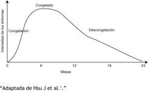 """Continúo de fases en hombro congelado """"Adaptada de Hsu J et al.1."""""""