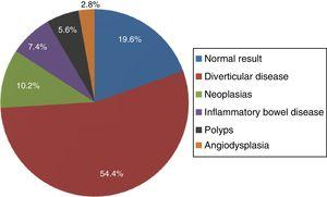 Main diagnoses found with colonoscopy.
