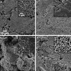 SEM images of the copper plates after the measurement of shear strength. The powders used were the metallic Cu particles (a)–(d) shown in Fig. 3.