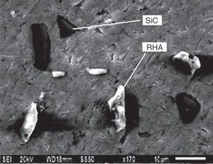 Scanning electron micrograph of the hybrid composite.