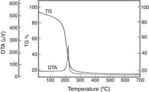 DTA–TG and DTG of FNT2 precursor.