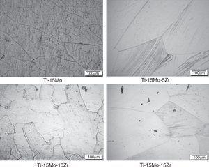 Optical micrographs of Ti-15Mo-xZr alloys.